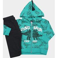 Conjunto Moletom Infantil Fakini Estampa Dino Com Capuz Masculino - Masculino-Verde+Preto