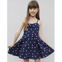 Vestido Infantil Estampado De Corações Com Nó Alça Fina Azul Marinho