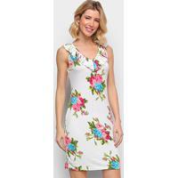 Vestido Efa Floral Babados - Feminino-Branco