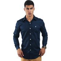c67a7e72fd Camisa Social Horus Slim Azul Marinho