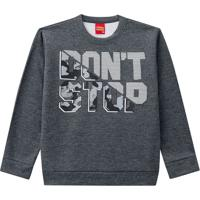 """Blusã£O Em Moletom """"Don'T Stop""""- Cinza & Brancokyly"""