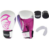 Kit De Boxe Pretorian: Bandagem + Protetor Bucal + Luvas De Boxe Elite - 10 Oz - Adulto - Branco/Rosa Cla