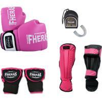Kit Boxe Muay Thai Orion -Luva Bandagem Rápida Bucal Caneleira - Rosa/Preto