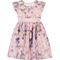 Vestido Floral- Rosa Claro & Roxo- Marisolmarisol