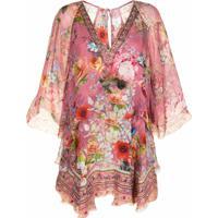 Camilla Vestido De Seda Com Estampa Floral - Rosa