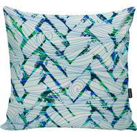 Capa Para Almofada Geométrica- Branca & Verde- 45X45Stm Home