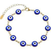Pulseira Piuka Olho Grego Folheado Ouro Feminina - Feminino-Dourado+Azul