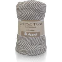 Manta Appel Tricô Decorativa P/ Cama E Sofá - Chevron Bege