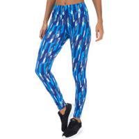 Calça Legging Oxer Retângulos - Feminina - Azul Esc/Azul Cla