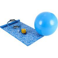 Kit Para Pilates Mor Com Anel + Bola + Colchonete + Inflador - Azul