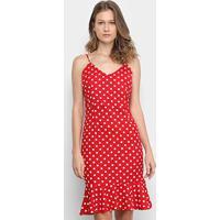 Vestido Edivi Curto Alças Finas Poá - Feminino-Vermelho