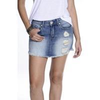 Saia Jeans Canal Destroyed - Feminino