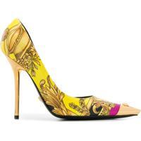 Versace Sapato Com Estampa Barroca - Amarelo