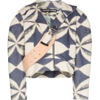 Chopova Lowena Cropped Geometric-Print Jacket - Azul