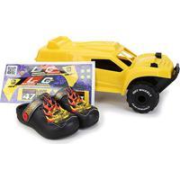 Sandália Infantil Grendene Kids Hot Wheels Monster Truck Babuche Com Carrinho - Masculino-Preto