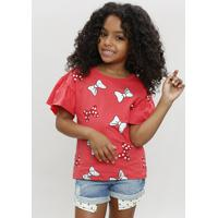 Blusa Infantil Estampada Minnie Com Babado Manga Curta Decote Redondo Vermelha