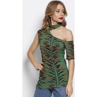 Blusa Canelada Com Recorte Vazado- Verde & Marrom Claro