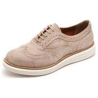 Sapato Casual Oxford Q & A Feminino Couro Areia