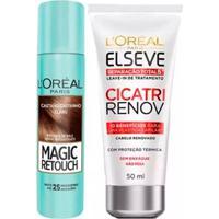 Kit L'Oréal Paris Magic Retouch + Cicatri Renov Kit Leave-In + Corretivo Capilar Castanho Claro - Unissex-Incolor