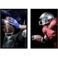 Quadro Oppen House 60X80Cm Esporte Duo Futebol Americano Jogadores Moldura Preta S/Vidro