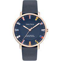 Relógio Nautica Masculino Couro Azul - Napcrf907