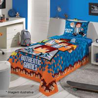 Jogo De Cama Authentic Games® Solteiro- Azul Escuro & Lalepper