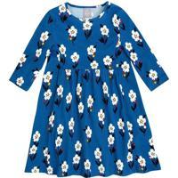 Vestido Floral Com Recorte- Azul & Branco- Kids-Hering
