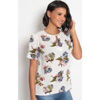 Blusa Floral Com Recortes & Fendas- Branca & Azul- Vvip Reserva