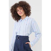 Camisa Linho Polo Ralph Lauren Listrada Branca/Azul