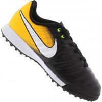 Chuteira Society Nike Tiempo X Ligera Iv Tf - Infantil - Preto/Amarelo Esc