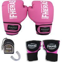 50cdedd32 Kit Fheras Boxe Muay Thai Trad -Luva Bandagem Rápida Bucal Caneleira- 14 Oz  Rosa