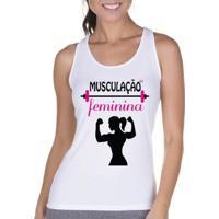Regata Criativa Urbana Cavada Fitness Feminina - Feminino-Branco