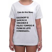 Camiseta Impermanence Estampada Ceia Ano Novo Feminina - Feminino-Branco