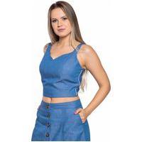 Blusa Jeans Aero Jeans Cropped Azul