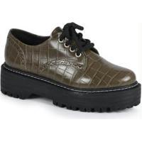 Sapato Feno Oxford Croco Verde Verde