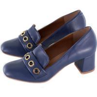 Sapato Alta Villa Shoes Bico Redondo Azul Marinho