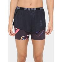 Short Memo Com Bermuda Feminino - Feminino-Preto+Azul