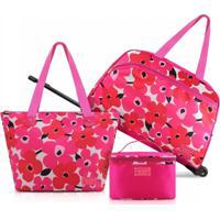 Conjunto De Mala E Bolsa De 3 Peças Jacki Design Papoula Pink