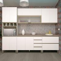 Cozinha Lis Completa - 5 Peças 12 Portas - Legno Crema Com Branco Mat - Prime Plus - Luciane