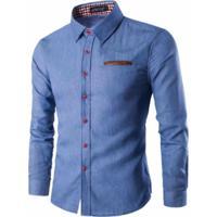 Camisas Estilo Jeans Slim Fit Detalhes Xadrez - Azul Claro