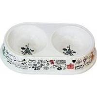 Comedouro E Bebedouro Para Cães Duplo Happy Branco - 650Ml Cada