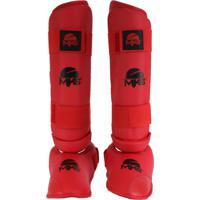 Caneleira Mks Combat Com Protetor De Pé Vermelha