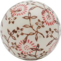 Bola Decorativa Floral Bege E Rosa 5,5X5,5X5,5