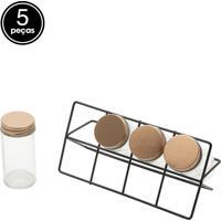 Kit 5 Pçs Porta Condimentos Metal Black Support Transparente E Cobre Urban