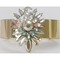 Bracelete Com Strass Dourado - Único