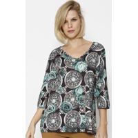 Blusa Floral Acetinada - Preta & Verdesimple Life