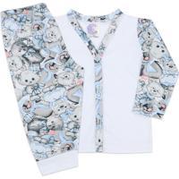 Conjunto Pijama Bebê Com Botões Ursos Branco - Look Infantil