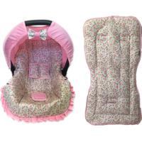 Conjunto Capa De Bebê Conforto E Capa De Carrinho Floral Alan Pierre Baby 0 A 13 Kg Rosa Com Bege