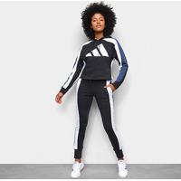 Agasalho Adidas Big Logo Feminino - Feminino-Preto+Branco