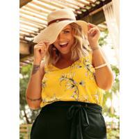 Blusa Plus Size Amarelo Cativa Mais